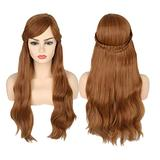 Chtom Princess Wig for Women Adults Long Brown Ombre Wig with Braids and Fringe for Halloween Costume (Color : Anna wig)