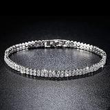 WUGDSQGH Bracelet for Women Small Rhinestone Ladies Sterling Silver Bracelet Ladies Luxury Jewelry Friendship Bracelet 925 Series 17-18Cm