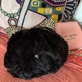 Kate Spade Bags | Kate Spade Plush Black Cat Clutch Shoulder Bag | Color: Black/Silver | Size: Os