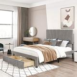 Queen Storage Bed , Upholstered Platform Bed with Headboard, Storage Bed Frame with Storage Drawers for Bedroom, No Box Spring Need, Gray