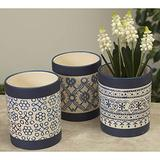 Set of 3 5-Inch Decorative Blue and White Ceramic Planter Pots with Bohemian Floral Design - Indoor Outdoor Flower Pot Decoration – Home and Garden Decor