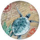 OneHoney Round Area Rugs, 4 Feet Nautical Coastal Sea Turtle Indoor Throw Runner Rug Entryway Doormat Floor Carpet Pad Yoga Mat for Bedroom Living Room Ocean Marine Life Map