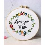 Flore Craft Kits MIXED - 'Love You More' Floral Wreath DIY Embroidery Starter Kit
