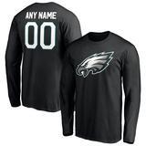 Men's Fanatics Branded Black Philadelphia Eagles Personalized Name & Number Winning Streak Long Sleeve T-Shirt