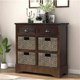 Dovecove Rustic Storage Cabinet Accent Furniture (white) Wood in Brown, Size 28.0 H x 28.0 W x 11.8 D in | Wayfair 06C27FB102CE44669A3E62748BE3F6EF