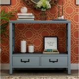 Longshore Tides Console Sofa Table w/ Two Bottom Drawers, Farmhouse Narrow Sofa Table For Entryway (antique Navy) Wood in Blue | Wayfair