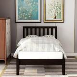 Red Barrel Studio® Twin Size Wood Platform Bed w/ Headboard/Wood Slat Support Wood in Brown/Green, Size 42.0 W x 78.0 D in | Wayfair