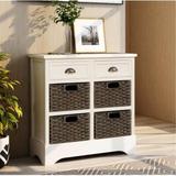 Dovecove Rustic Storage Cabinet Accent Furniture () Wood in White, Size 28.0 H x 28.0 W x 11.8 D in | Wayfair D7844873C3014A13B174A809049334BA