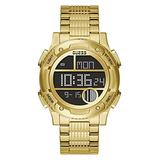 GUESS Men's Quartz Watch with Stainless Steel Strap, Gold, 22 (Model: GW0271G2)