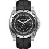 Precisionist Diamond Black Leather Strap Watch - Black - Bulova Watches