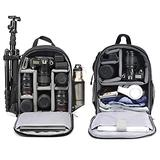 Cwatcun Camera Backpack Bag Professional for DSLR/SLR Mirrorless Camera Waterproof, Camera Case Compatible with Sony Canon Nikon Camera and Lens Tripod Accessories (Ⅱ S Black)