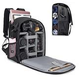 """Cwatcun Camera Backpack with Extra Storage, DSLR SLR Water Resistant Camera Bag with 14"""" Laptop Compartment Fits Canon Nikon Sony Camera, Camera Case with Tripod Holder for Women Men Photographer"""