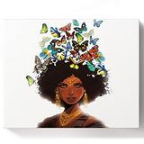 DIY Paint by Numbers for Adults Framed Digital Oil Painting African American Girls Women Colorful Butterfly Hair on Canvas Painting Kit 12 by 16 Inch