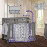 BabyFad Damask Purple 9 Piece Baby Crib Bedding Set