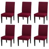 INMOZATA Chair Covers for Dining Room Set of 6, Spandex Fabric Fit Stretch Dining Chair Covers, Washable Removable Parson Chair slipcovers for Hotel,Ceremony,Banquet, Wedding Party (Wine Red)