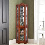 Sophia & William Corner Curio Display Cabinet with Tempered Glass Doors and Light System, 5-Tier Wood Liquor Cabinet with Adjustable Glass Shelves, Walnut