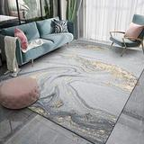 Contemporary Area Rugs Modern Abstract Carpets for Living Room Gray Gold Marble Pattern Stylish Rugs for Bedroom Coffee Table Floorcover Indoor Rugs Guestroom Playroom Runner Rugs 6X8ft F