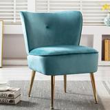 Mercer41 Accent Living Room Side Wingback Chair Velvet Fabric Upholstered Seat Chairs Occasional Bedroom Leisure ChairsVelvet in Blue/Indigo Wayfair