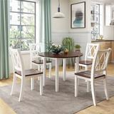 Gracie Oaks Dining Table Set Round Wood Drop Leaf 5 Piece Dining Set w/ 4 Cross Back Chairs For Small Place in White, Size 30.0 H in | Wayfair