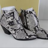Michael Kors Shoes | Michael Kors Loni Ankle Bootie Snake Print Leather | Color: Gray/White | Size: Various