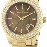 Michael Kors Accessories | Michael Kors5452 Ladies Jet Set Mop Dial Gold Plat | Color: Brown/Gold | Size: Os