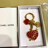Michael Kors Accessories | Michael Kors Heart Key Fob Purse Charm New In Box | Color: Gold/Red | Size: Os