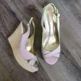 Lilly Pulitzer Shoes   Lilly Pulitzer Striped Peep Toe Slingback Wedge   Color: Pink/White   Size: 7.5