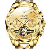 Automatic Watches for Men Self Winding Watches Tourbillon Skeleton Watches Luxury Swiss Watches Gold Mechanical Watch No Battery Classic Big Face Dress Watches Waterproof Sapphire Crystal Watches
