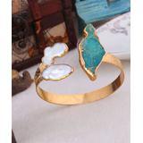 Handmade Art Women's Bracelets Green - Variscite & Cultured Pearl Cuff