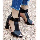 ROSY Women's Pumps Black - Black Stud-Accent Strappy Sandal - Women