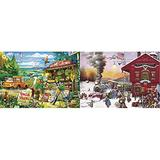 Buffalo Games - Days to Remember - Country Road - 500 Piece Jigsaw Puzzle & Games - Charles Wysocki - Whistle Stop Christmas - 500 Piece Jigsaw Puzzle