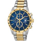 Two-tone Blue Dial Chronograph Bracelet Watch - Blue - Citizen Watches