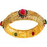 Faux Emerald Ruby Gold Bangle Bracelet - Green - Meghna Jewels Bracelets
