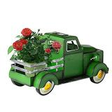 Car Flower Pots, Retro-Style Solar-Powered Pickup Truck Garden Decorations, Metal Shell Pickup Truck Vintage Car Flower Pots, Can Be Used As Home Garden Decorations. (Green)