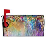 """Aybtsm Colorful Flower Printed Mailbox Cover,Waterproof Mailbox Wraps Magnetic Post Letter Box Cover Home Garden Decorations Standard Size 18"""" X 21"""""""