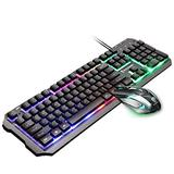 Venhoy Keyboard LED Rainbow Backlit Keyboard and Mouse Set, Gaming Mouse and Keyboard 104 Key Computer PC Gaming Keyboard with Wrist Rest USB Gaming Mouse Gaming Keyboard Combo (Color : Black)