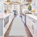 Upgraded Boho Runner Rug 2'x8', Diamond Black White Hallway Runner, 100% Woven Washable Cotton, Black Rug Runner for Kitchen/Laundry Room/Doorway/Bedroom