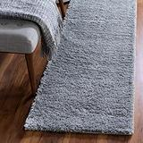 Rugs.com Soft Solid Shag Collection Runner Rug – 6 Ft Runner Cloud Gray Shag Rug Perfect for Hallways, Entryways