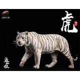 ZSMD 1/6 Bengal Tiger White Tiger Figure Panthera Tigris Tigris Siberian Tiger Resin Realistic Wild Animal Model Educational Painted Figure Toys Collector Decor Gift Party for Adult(White)