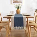 OEEAU Rustic Table Runner Blue Table Runner with Fringe Woven Cotton Linen Table Runner for Coffee Table Dining Room Table Farmhouse Party Holiday 15x72inch Blue