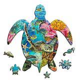 Celina Haydee Sea Green Turtle Wooden Puzzle - Sea Green Turtle Puzzle for Kids and Adult - Sea Green Turtle Coral World Unique Shape Pieces Puzzle - Ocean World Puzzle 150 Pieces
