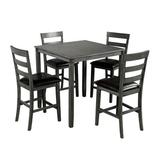Red Barrel Studio® Square Counter Height Wooden Kitchen Dining Set, Dining Room Set w/ Table & 4 Chairs (Grey)Wood/Upholstered Chairs in Gray