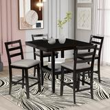Red Barrel Studio® 5-Piece Wooden Counter Height Dining Set w/ Padded Chairs & Storage Shelving, Walnut in, Black Wood/Upholstered Chairs in Brown