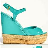 Gucci Shoes | Gucci Hollie Turquoisejade Cork Wedge Platform | Color: Blue/Green | Size: 7.5