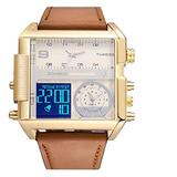 BOAMIGO Sports Military Watch boy Men's Watch LED Quartz Analog Electronic Watch Fashion Square Watch Waterproof Watch 3 time Zone (Gold White)