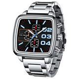 MINI FOCUS Fashion Square Dial Watches Men Luxury Top Brand Stainless Steel Chronograph Quartz Watch Man Military Sport Waterproof Luminous Wristwatch Silver Black