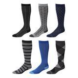 Rexx Men's Compression Socks - Blue & Black Six-Piar Knee-High 15-20 mmHg Compression Socks Set