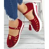 YASIRUN Women's Sandals Red - Red Tassel-Accent Closed-Toe Sandal - Women