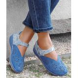 YASIRUN Women's Sandals Blue - Blue Floral Contrast Perforated Ankle-Strap Flat - Women