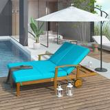 Red Barrel Studio® Outdoor Double Chaise Lounge Chair For 2 Persons Mccroy Backyard Solid Wood Frame Daybed Wood/Solid Wood in Brown/White | Wayfair